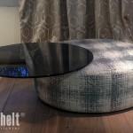 Hocker LUNA mit Rauchglasplatte zum Umfunktionieren als Tisch